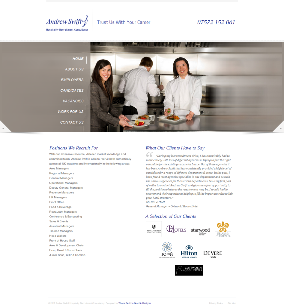 Andrew Swift Hospitality Recruitment Consultancy Web Design